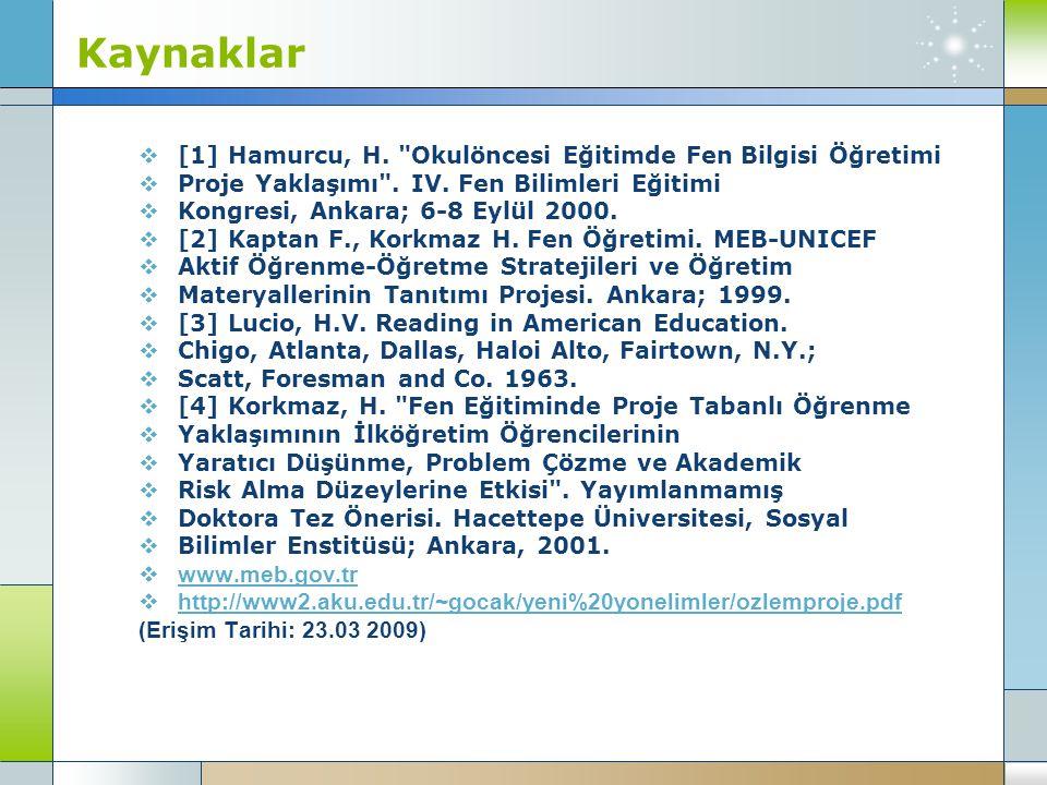 Kaynaklar [1] Hamurcu, H. Okulöncesi Eğitimde Fen Bilgisi Öğretimi